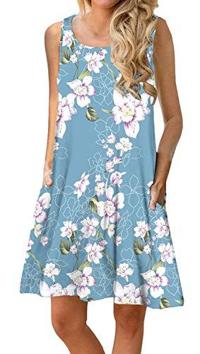 PrinStory Women Summer Floral Print Casual T Shirt Dresses Beach Cover Up Plain Pleated Tank Dress Floral Print Light Blue XL