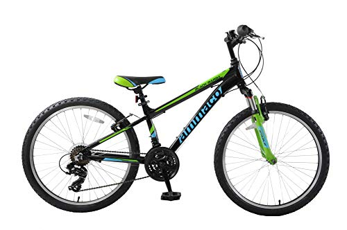 Ammaco. Black Mamba 26' Wheel Boys Kids Junior Front Suspension Mountain Bike 21 Speed Alloy Black/Green/Blue 14' Frame