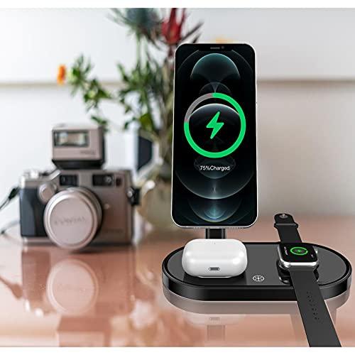 Caricabatterie Wireless, Stazione di Ricarica Wireless 3 in 1, Supporto di Ricarica Rapida Compatibile per iPhone 12 12 PRO 12 PRO Max 12 Mini 11 8 Plus, per Apple Watch, per AirPods PRO