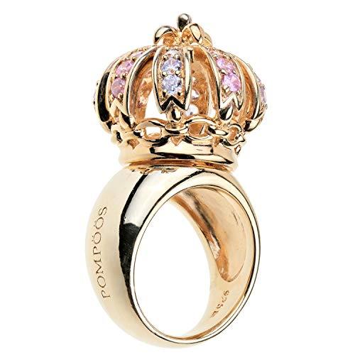 Pompöös Harald Glöckler Ring für Frauen Silber 925 vergoldet Zirkonia Multicolor königlich Geschenk Gr. 54