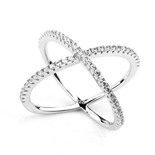 Titaniumcentral Sterling Silber Vergoldet Criss Cross X Ringe(Silber, 61 (19.4))