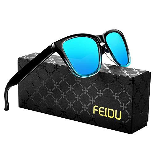 FEIDU Retro Polarisierte Damen Sonnenbrille Herren Sonnenbrille Outdoor UV400 Brille für Fahren Angeln Reisen FD 0628 (Farbverlauf-blau, 60)