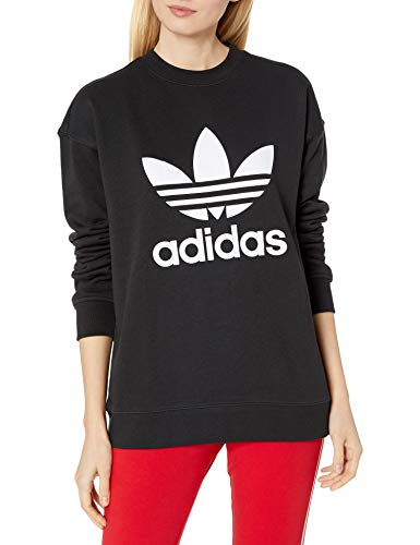 adidas Originals womens Trefoil Crew Sweatshirt Sweater, Black/White, Large US