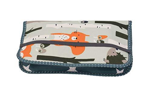 ULLENBOOM ® Windeltasche für unterwegs Waldtiere Petrol (Made in EU) - Wickeltasche für bis zu 3 Windeln, Feuchttücher & weiteres Zubehör, Windeletui mit Reißverschluss & Gummiband, klein & lässig