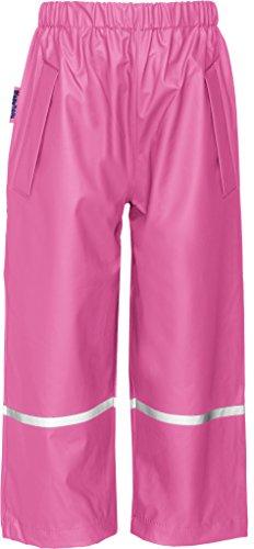 Playshoes Kinder Regenhose, Buddelhose zum Überziehen für Mädchen und Jungen, Bundhose, wind- und wasserdicht, Rosa (18 pink), 128
