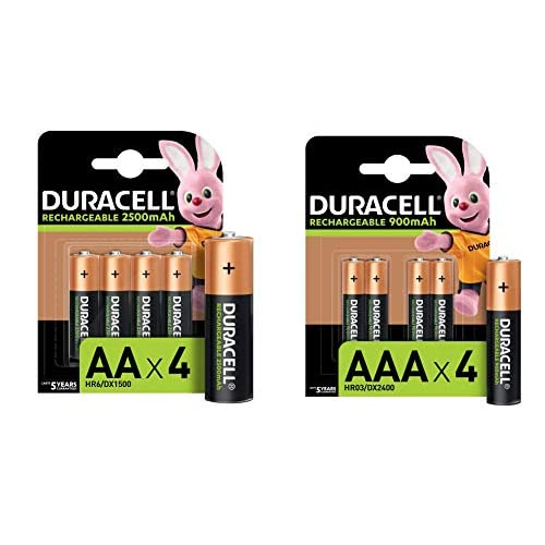 Duracell - Rechargeable AA 2500mAh + Rechargeable AAA 900mAh, 4 Batterie Stilo Ricaricabili 2500 mAh + 4 Batterie Ministilo Ricaricabili 900 mAh