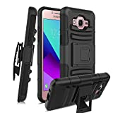 Samsung Galaxy J7 Neo J701M DS case/J7 Nxt J701F/J7 Core J701/J7 Core Duos/J7 2015 Case W Built-in Kickstand Heavy Duty Full-Body Shockproof Armor Swivel Belt Clip Combo Holster Protective case,Black