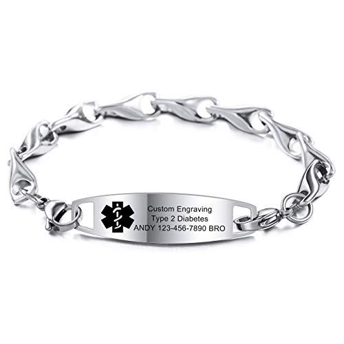 MOWOM Medical Alert Bracelet Custom Engraved Allergy Life Identification Name ID for Men Women Stainless Steel Link Chain (Style03 - Silver Plain Tag & Silver Wheat Chain)