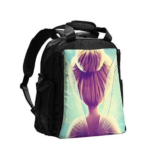 GXGZ Bolsa de pañales Mochila Campanilla y hada Mochila de viaje multifunción Bolsa de hombro Pañal de maternidad Bolsa de bebé con cambiador