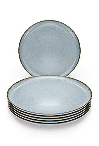 Pure Living - Juego de 6 platos de desayuno (6 unidades, diseño rústico, color azul)