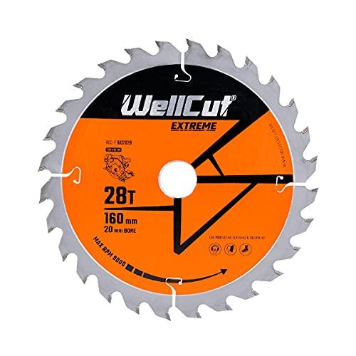 WellCut TCT Circular Angle Grinder Wood Cutting Disc Saw Blade, Plunge Saw Blade 160mm x 20mm x 28T Festool TS55 Makita Bosch Cord/Cordless
