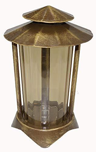 Grablaterne, Grablampe, Grablicht, aus Stahl mit Erdanker 2499 (Bronze pat.)