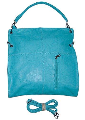 Dudlin Damen Handtasche Hellblau Schultergurt Kunst Leder Henkeltasche