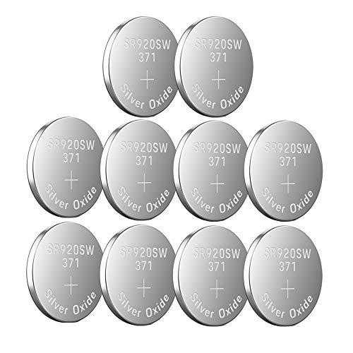 LiCB - 10 Stück Knopfzellen / Uhrenbatterie SR920SW 371 LR920 AG6 370, 1,55 V
