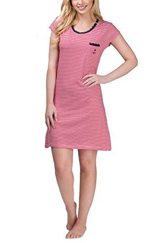 Moonline Damen Nachthemd Kurzarm mit Allover-Streifen, Größe:S, Farbe:rot/weiß