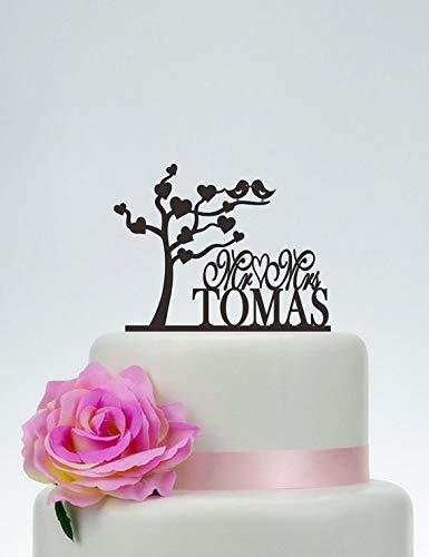 Liefde Boom Taart Topper, Liefde Vogels Topper, Meneer en Mevrouw Taart Topper met Laatste Naam, Aangepaste Taart Topper, Bruiloft Taart Topper, Party Cake Topper C093