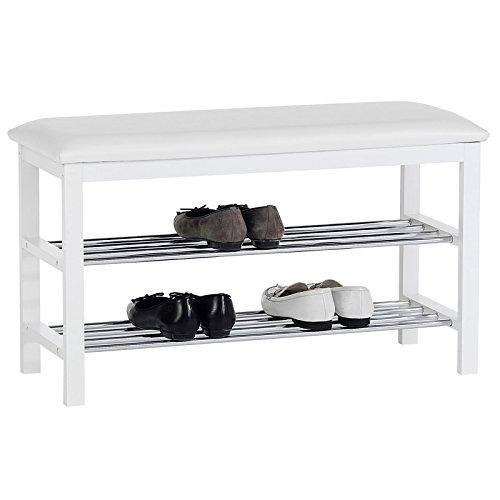 IDIMEX Sitzbank Schuhbank SANA, in weiß mit gepolsterter Sitzfläche und 2 Schuhablagen