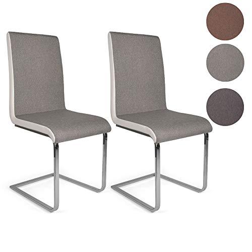 Mingone 2er Set Esszimmerstuhl Küchenstuhl Schwingstuhl Stoffbezug Freischwinger Design Metallgestell in Chrom (Grau)