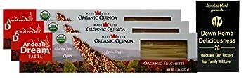Andean Dream Organic Quinoa Pasta | Gluten Free | Spaghetti  8 Ounces  | 3 Count Plus Recipe Booklet Bundle