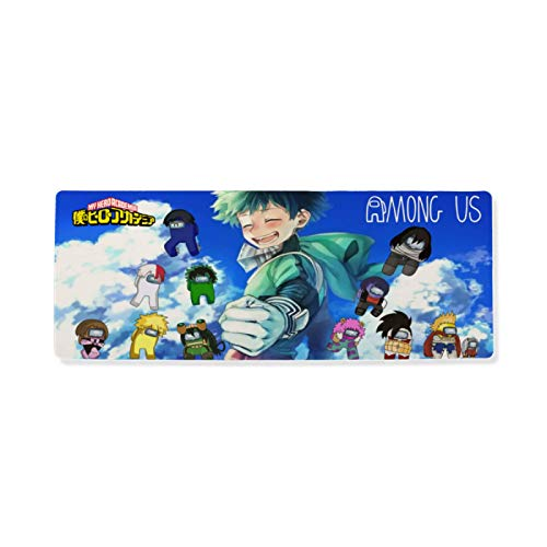 Suzzc Among Us Large Gaming Mouse Pad My Hero Academia Mouse Pad for Home 17.74x35.43 Inch