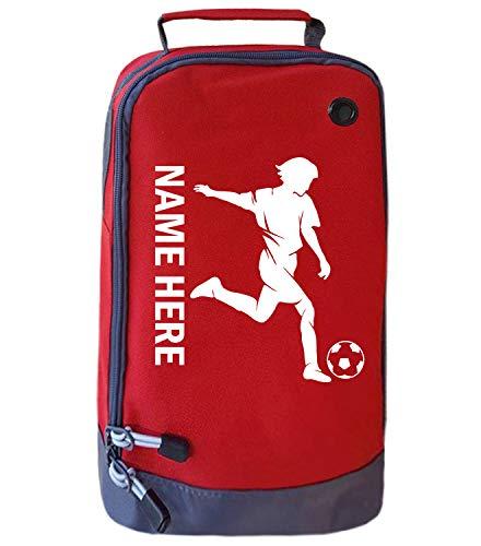 Absolutely Top Fußballschuh-Tasche, personalisierbar, für Mädchen, Sport, Schule, Sport, Geschenk, Hot Lava Rot/Weiß