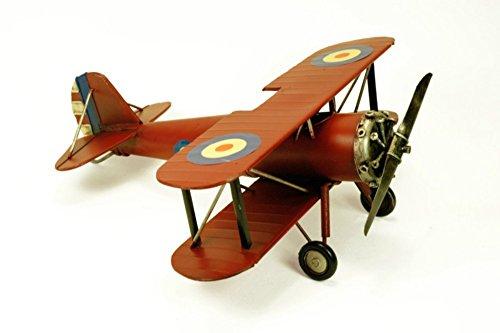 CAPRILO Figura Decorativa Retro de Metal Avioneta Antigua Roja. Adornos y Esculturas. Coleccionismo. 33 x 36 x 14 cm.
