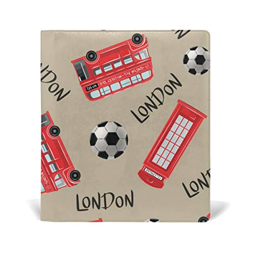 TIZORAX London Bus Voetbal Stretchable Book Covers Past op de meeste Hardcover leerboeken tot 9 x 11. Lijmvrij, PU-lederen schoolboekbeschermer. Eenvoudig aan te brengen.