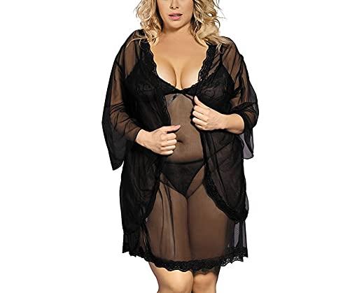 LIXFDJ Conjunto de lencería para mujer, color negro, talla mediana)
