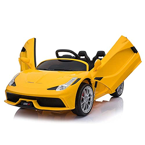GIKPAL Kids Electric Ride On 12V Sports Car - 2 Seater Battery Powered Electric Vehicle Toy W/ 2.4G Remote Control, 3 Speed, LED Lights, MP3 Horn, Scissor Doors, Yellow
