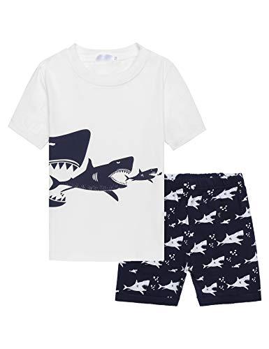 Bricnat Jungen Kurzer Schlafanzug Kurzarm Haie Nachtwäsche Jungs Pyjama Set Kinder Shorty Bekleidungsset Kleinkind Baby-Jungen Sommer 98