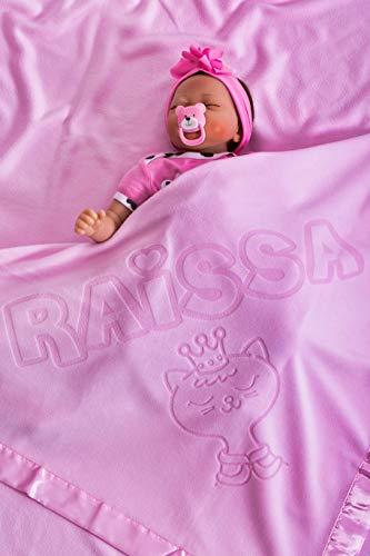 Coperta Per Bambino Personalizzato Con Nome Neonato, dimensioni 75x75CM Rosa