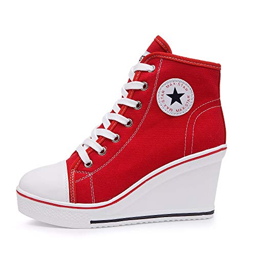 Qimaoo Damen Keilabsatz Schuhe Mädchen Canvas Sneaker Schuhe für Sport Freizeit - EU 35=CN 35(Rot)