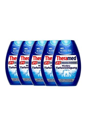 5x Theramed 2 in 1 Zahncreme + Mundspülung Mizellen-Tiefenreinigung 75 ml