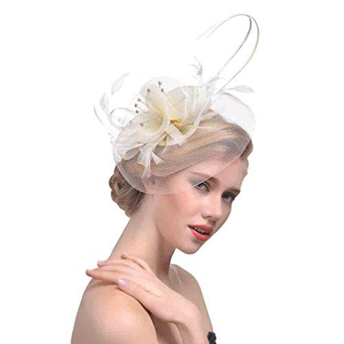 Yujeet Moda De Mujer Transparente Sombreros Y Tocados Completo Floral Forma Pluma...