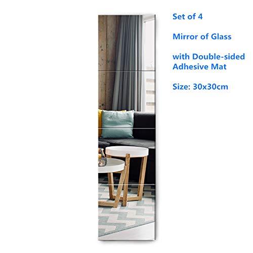 Muzilife Glas Spiegelfliesen 4 Stücke 30x30cm mit 4 Klebe Mat HD Wandspiegel Set in Küche, Wohn- und Badezimmer