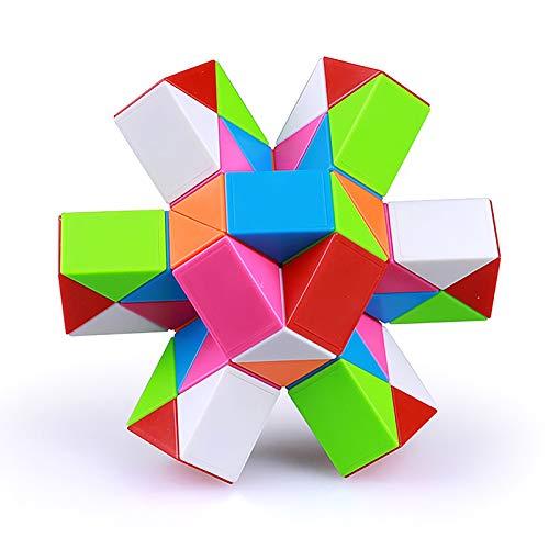 JIAOAO 48 secciones Magic Snake Puzzle Cube Grid Rainbow Magic Ruler 24 secciones, 36 secciones, 48 secciones, 60 secciones, 72 secciones, jardín de infancia, variedad mágica serpiente