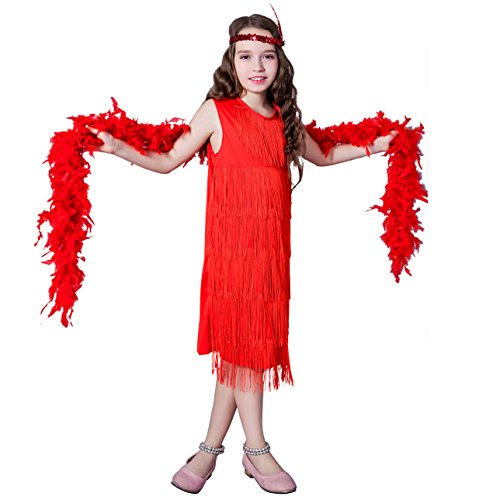 Girl 's Fashion Flapper Satin Dress…