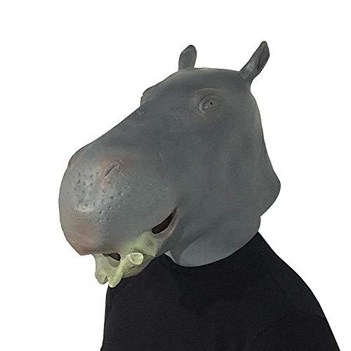 Neuheit Halloween-Kostüm-Party Nilpferd Maske Tierkopf Halloween Parodie Latex Kopfschmuck Halloween Lustige Show Requisiten (Color : Hippo, Size : One Size)