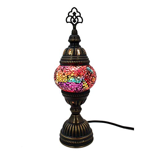 Lampada a mosaico in vetro, a stelo, lampada da tavolo in vetro arancione, multi decorazione, Gall&Zick, fatto a mano, motivo orientale