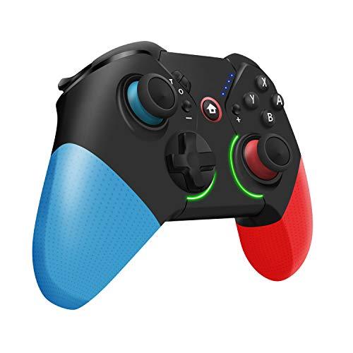 【RGBカラフルライト&背面ボタン】Switch コントローラー 任天堂 スイッチ Pro コン 無線 ワイヤレス Bluetooth接続 HD振動 小型6軸ジャイロセンサー搭載 TURBO連射速度調整機能 Nintendo Switch全てシステムに対応
