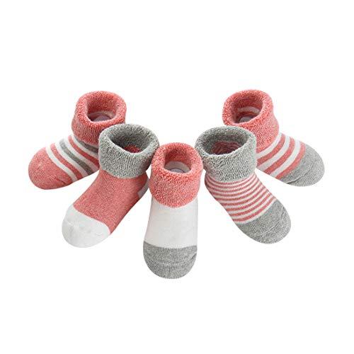 DEBAIJIA DEBAIJIA Baby Kinder Socken 5 in 1 Set Jugendliche Stricksocke Verdickender Herbst und Winter Jungen Mädchen Baumwolle Bunt Elastisch Weich Graues Rosa - S
