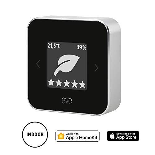 Eve Room - Raumklima- & Luftqualitäts-Monitor zum Kontrollieren von Luftqualität (VOC), Temperatur und Luftfeuchtigkeit; E-Ink-Display, keine Bridge erforderlich, BLE (neu, Apple HomeKit)