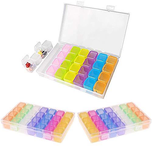 3 Piezas 28 Cuadrículas Cajas de Almacenamiento de Arte de Uñas Multicolores,Cajas de Almacenamiento de Plástico/Caja de Almacenamiento de Joyas/Caja de Divisores,Rhinestone de Uñas DIY Art Craft