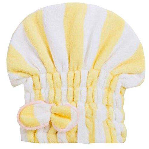 Trockenes Haar Cap Duschhaube Female trockenes Haar-Tuch Gelb Streifen