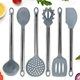 Grey and Black Kitchen Utensil Set for Cooking, Silicone Kitchen Utensils Set for Modern Cooking and...