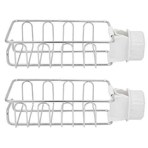 Estante para grifos - 2 piezas Estante de almacenamiento para grifos Organizador de carrito de fregadero de acero inoxidable Estante de almacenamiento de jabón para baño de cocina
