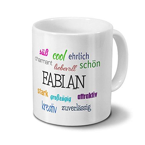 Tasse mit Namen Fabian - Motiv Positive Eigenschaften - Namenstasse, Kaffeebecher, Mug, Becher, Kaffeetasse - Farbe Weiß