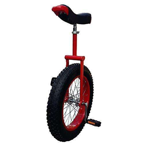 Einrad Rot Einräder für Erwachsene 24 Zoll, Kinder (15/16/17/18 Jahre Alt) Bergreifen 20-Zoll-Rad Outdoor Balance Cycling, Auslaufsicherer Reifen (Color : Red1, Size : 24inch)