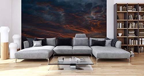 awallo Fototapete – Motiv «Wolkenspiel» in Blau, Braun, Grün | 400x250cm | XXL Bild-Tapete Wand-Bild Digitaldruck | hochwertige Vliestapete – Made in Germany | einfache Verarbeitung