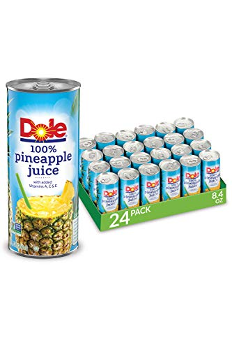 Dole 100% Pineapple Juice, 100% Fruit Juice with Added Vitamin C, 8.4 Fl Oz Cans, 24 Total Cans
